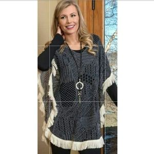 Nwt Arianna Lace Fabric Poncho With Fringe-Grey